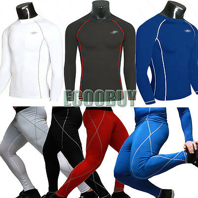 Mens T Shirt Compression Long Pants Under Skins Tights Fit Warm Top Athletic