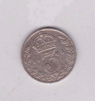 1905 Silver Three Pence Coin In Good Fine Condition