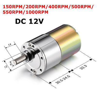 DC 12V 2 - 1000RPM Powerful High Torque Electric Gear Box Motor Speed Reduction