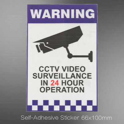 CCTV Warning 24 Hour Video Surveillance Camera Sign Decal Security Sticker Signs