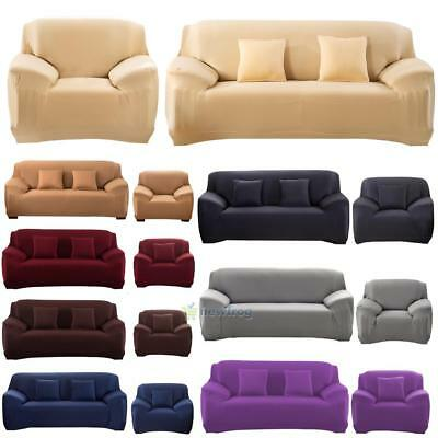 Micro Suede Slipcover Stretchable Pure Color Sofa Loveseat Chair Washable Cover
