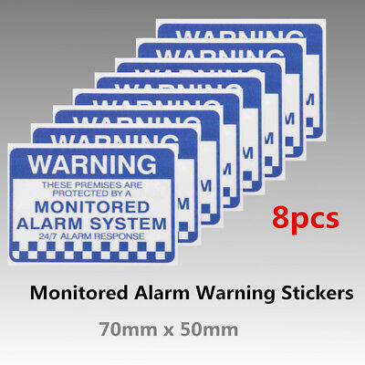 Pack of 8 Monitored Alarm System Warning Security Stickers Waterproof Sign Decal