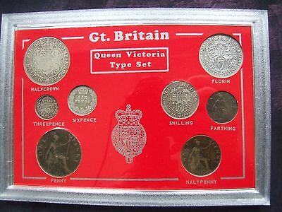 1899 Cased Victorian Set of 8 Coins, Half Crown to Farthing. FREE POSTAGE (H35)