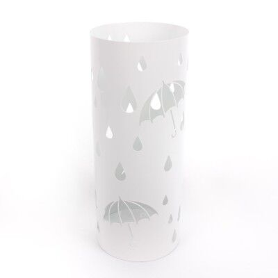 Rain Drops WHITE Umbrella Holder Round Metal Floor Rack Free Standing Canes UK