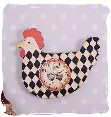Vintage Watch Country House Rooster Kitchen Clock Cottage Wall BISTRO DECORATION