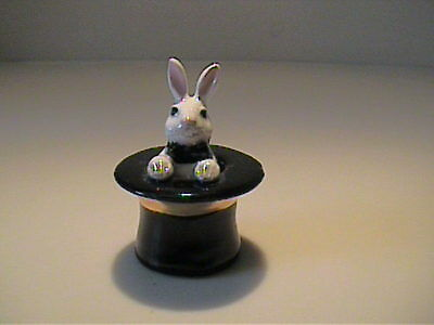 Vintage 1960's Hagen Renaker Miniature White Rabbit In Top Hat