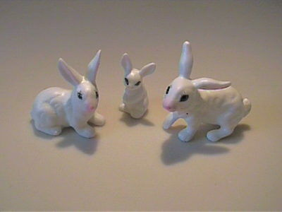 Vintage 1960's Miniature Bone China Family Of White Bunny Rabbits