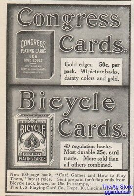 1909 Bicycle Rider Back US Playing Card Co Cincinnati OH Congress Gold Edge Ad