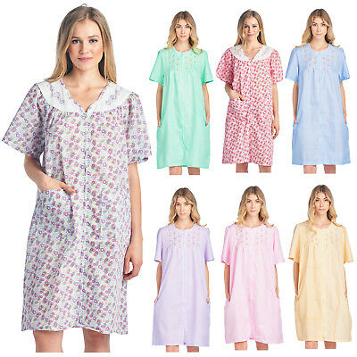 Casual Nights Women's Zip Up Short Sleeve Dress Housecoat Duster Lounger Robe