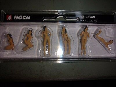 1/87 Noch 15958, 6 Naked female Art Models H0 Scale Figures Pre-Painted