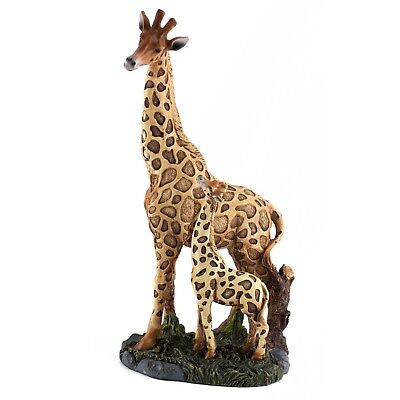 Giraffe Mother With Baby Figurine 9.75 Inch High Detailed Resin New In Box
