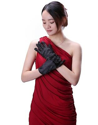 Women's Wrist Length Satin Gloves Adult Sized Evening Wear Bridal Accessory
