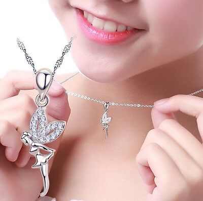 "18"" Sterling Silver CZ Crystal Angel Dancing Ballet Girl Pendant Necklace A16"