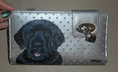 Newfoundland dog Hand Painted Ladies Leather  Wallet Vegan
