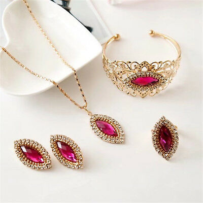 CHIC Women's Rhinestone Crystal Choker Bib Necklace Bracelet Ring Earrings Set