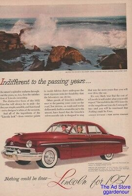 1951 Lincoln Red Sedan Fortunes Rocks Maine ME Photo Vintage Car Art Print Ad