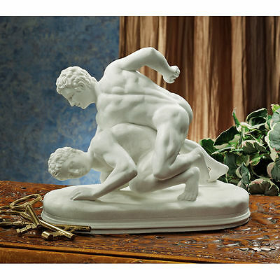 Classic Greek Wrestling Games Bonded Marble Sculpture Athletic Roman Statue