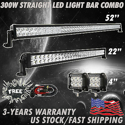 """52inch LED Light Bar + 22"""" + 2X 4"""" CREE Work Offroad SUV ATV Ford Truck Jeep 4WD"""