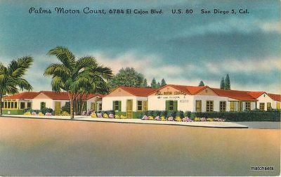 Palms Motor Court SAN DIEGO CA Colorpicture pubishers postcard 793