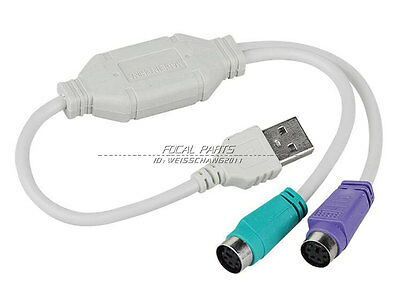 Dual PS2 Female to USB Male Converter Adaptor Cable F/M for Mouse Keyboard A158