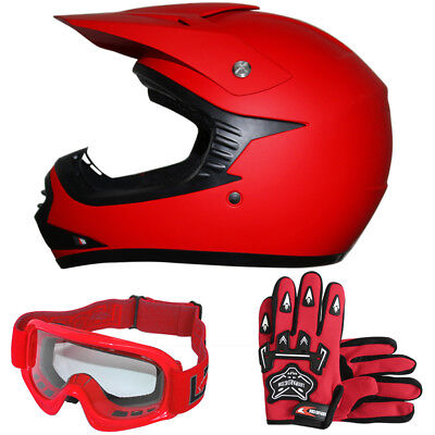 LEO Youth Kids Motocross Motorcycle Helmet MX Junior Gloves Goggles Off Road Red