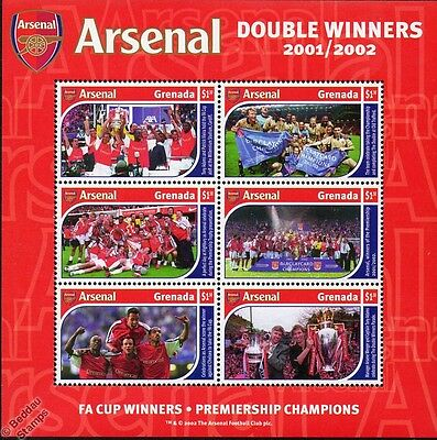 2001-02 ARSENAL Football Club Stamp Sheet (DOUBLE WINNERS Premier League FA Cup)