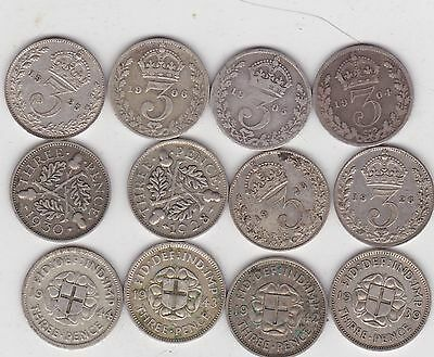 12 Silver Three Pence Coins Dated 1904 To 1944 In A Well Used Condition