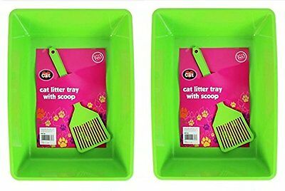 Rwp73H [Rwp736] Cat Litter Tray With Scoop Green Pack Of 2 Dna