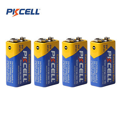 4pcs Pkcell 9V 6F22 Single-use Dry Sex Carbon Zinc Prismatic Batteries