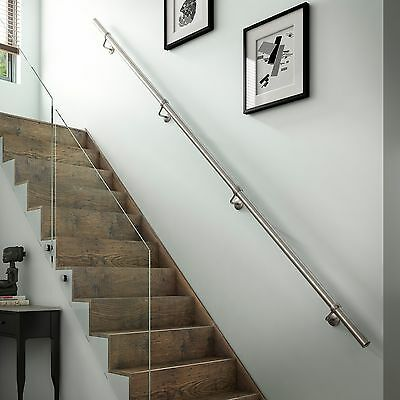 2.4mtr Chrome Metal Wall Mounted Handrail / Banister + all Fittings