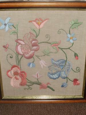 Large Framed Vintage Jacobean Style Embroidery On Linen C1930/40's?