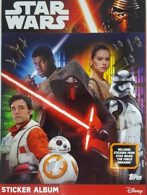 FORCE AWAKENS  Sticker Album   + Complete Set of 324 Stickers LOOSE Topps 2016