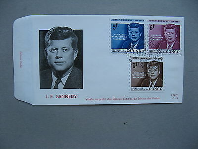 CONGO,  cover FDC 1964, Kennedy