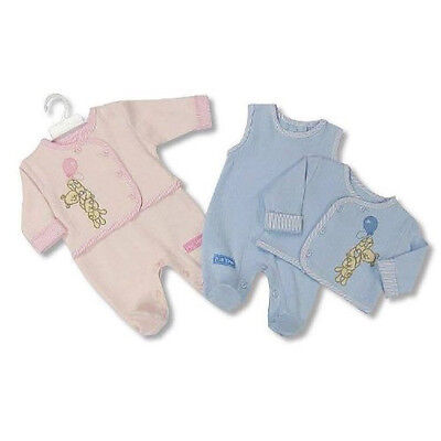 2 Pieces Newborn Baby Matching Outfit Dungaree & Embroidered Jacket Blue or Pink
