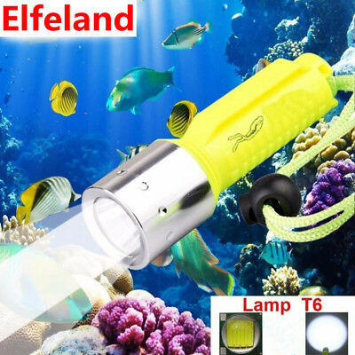 6000Lm Elfeland Waterproof T6 LED Scuba Diving Flashlight Torch Lamp Light 50M