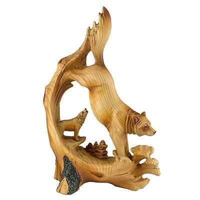 Wolf Carved Wood Look Figurine Resin 7 Inch High New In Box