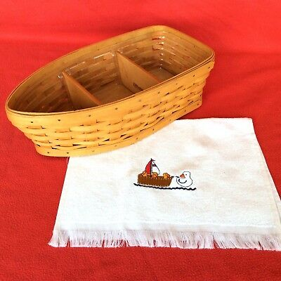 ROW YOUR BOAT Basket Protector Wood Divides & Embroidered Hand Towel Longaberger