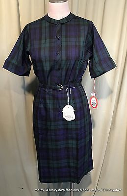 NOS NWT Vintage 50's 60's Blue & Green Plaid Cotton Skirt & Blouse Sz 16 38