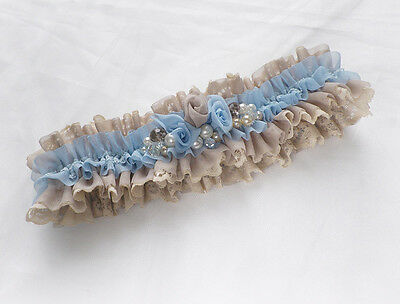 BLUE CHAMPAGNE CHIFFON LACE ROSES BEADS BRIDAL PERSONALIZED GARTER boxed
