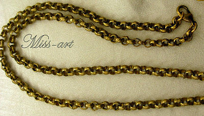 SPECIAL ORDER ***kepx  Vintage Solid Brass Rollo Bronze Chain Necklace Miss-art
