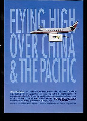 Fairchild Swearingen Metroliner 23 Ordered By Hainan Airlines China 1995 Ad