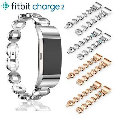 Stainless Steel Crystal Strap Wrist Band Watch Replace Strap For Fitbit charge 2