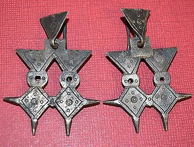 Antique Tuareg Tribal Ethnic Silver Double Agadez Cross Earrings Mali, Africa