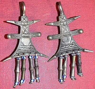 Antique Tuareg Tribal Ethnic Silver Traditional Metal Cross Earrings Mali Africa