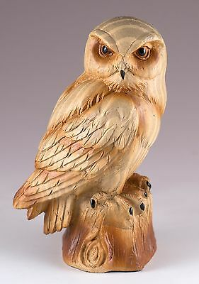 "Owl Carved Wood Look Figurine Resin 4"" High New!"
