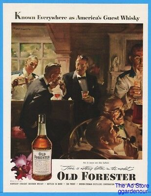 1953 Old Forester Brown Forman Louisville KY Mens Bar Gay Int Lighting Smoke Ad