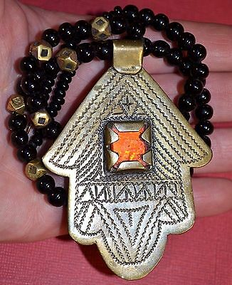 Tuareg Brass Hamsa Amulet Hand Of Fatima God Tribal Berber Necklace Niger Africa