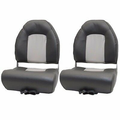 Deluxe Winged Gray/Charcoal Vinyl Boat Folding Seat (Pair) 75116GC