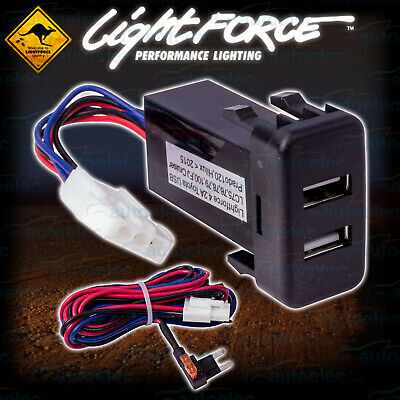 New Lightforce Dual 2.1A Amp Usb Suit Toyota Hilux 2005 - 2014 Cbusbty