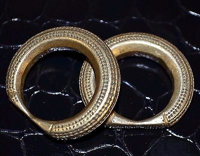 Antique Tuareg Ethnic Brass Metal Tribal Rings Niger Africa Ring Size 11 & 9 1/2